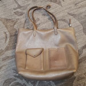 Madewell Zip Transport tote bag with pockets brown